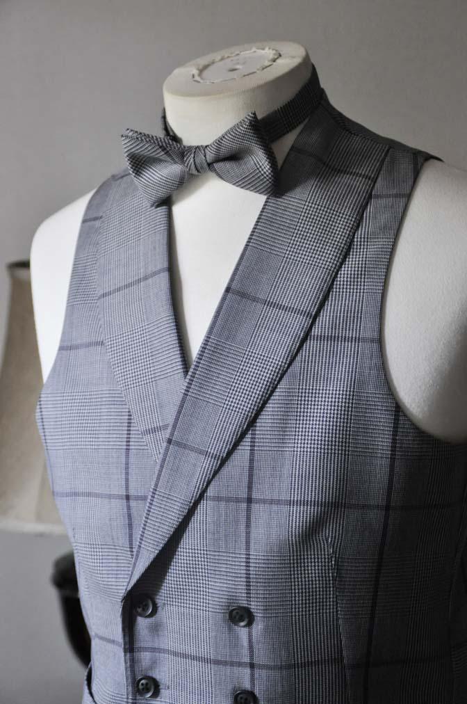 DSC0595-3 お客様のウエディング衣装の紹介-Biellesi ネイビースーツ グレーチェックベスト-