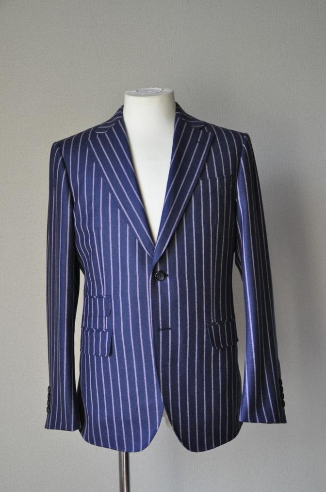 DSC06071 お客様のスーツの紹介-DARROW DALE ネイビーピンクストライプ フランネルスーツ-