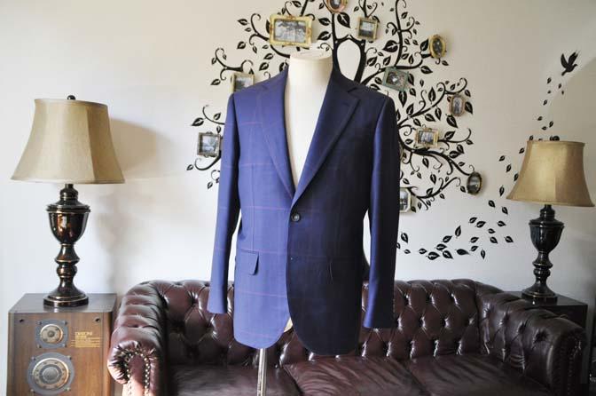 DSC0612-2 お客様のスーツの紹介-Biellesiネイビーチェックスーツ-