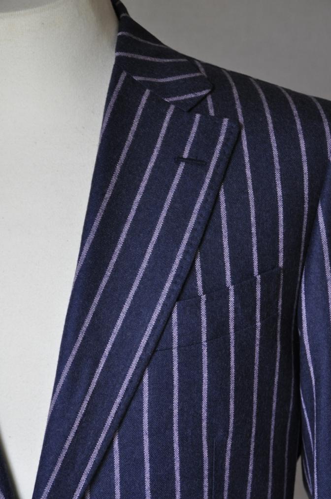 DSC0612 お客様のスーツの紹介-DARROW DALE ネイビーピンクストライプ フランネルスーツ-