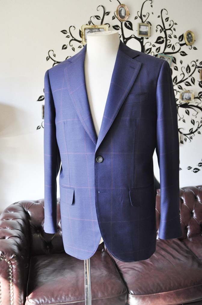 DSC0614-6 お客様のスーツの紹介-Biellesiネイビーチェックスーツ-