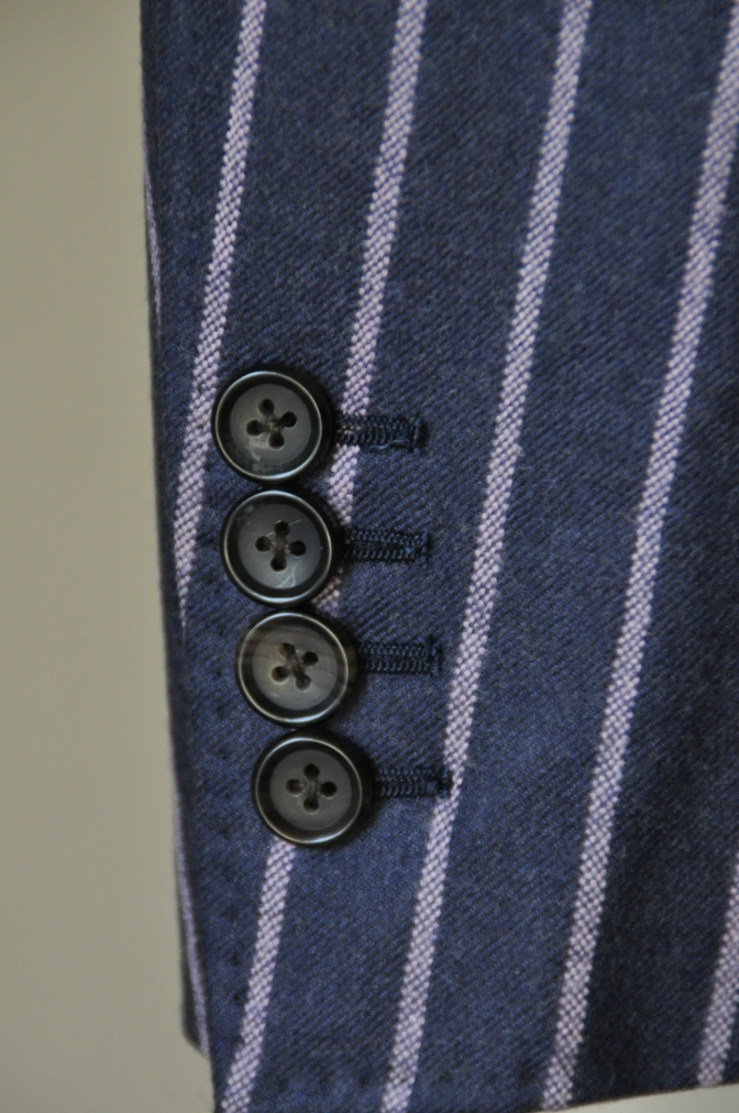 DSC0617 お客様のスーツの紹介-DARROW DALE ネイビーピンクストライプ フランネルスーツ-