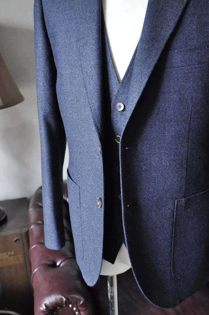 DSC0619-3 お客様のスーツの紹介-無地ネイビーフランネル スリーピース- 名古屋の完全予約制オーダースーツ専門店DEFFERT
