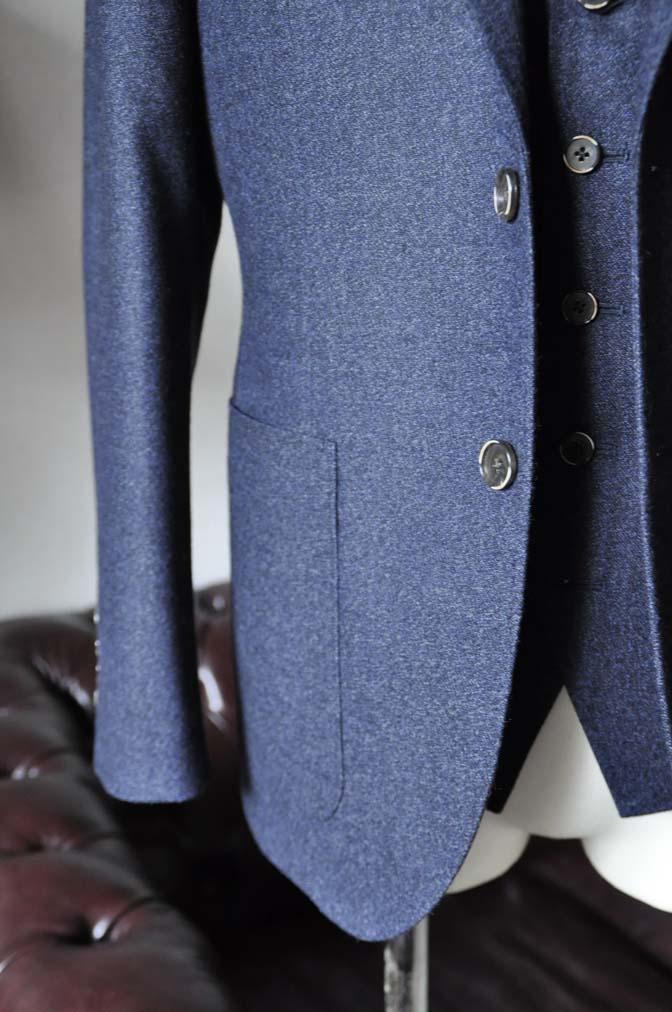 DSC0620-4 お客様のスーツの紹介-無地ネイビーフランネル スリーピース- 名古屋の完全予約制オーダースーツ専門店DEFFERT