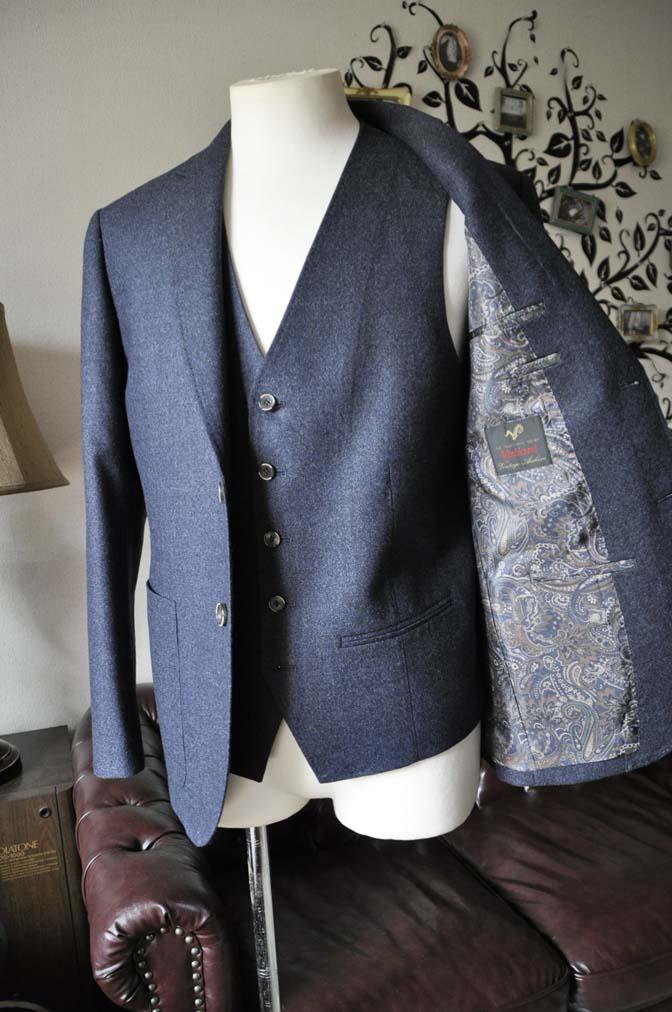 DSC0623-4 お客様のスーツの紹介-無地ネイビーフランネル スリーピース- 名古屋の完全予約制オーダースーツ専門店DEFFERT