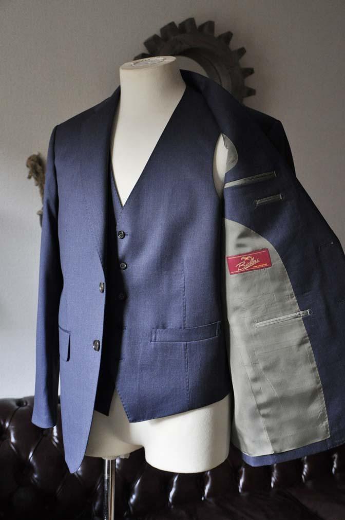 DSC0626-1 お客様のスーツの紹介- Biellesi ネイビースリーピース- 名古屋の完全予約制オーダースーツ専門店DEFFERT