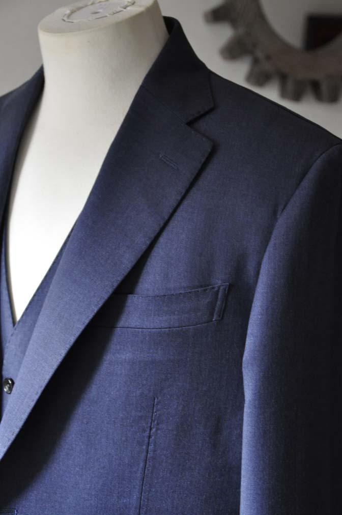 DSC0629-1 お客様のスーツの紹介- Biellesi ネイビースリーピース- 名古屋の完全予約制オーダースーツ専門店DEFFERT