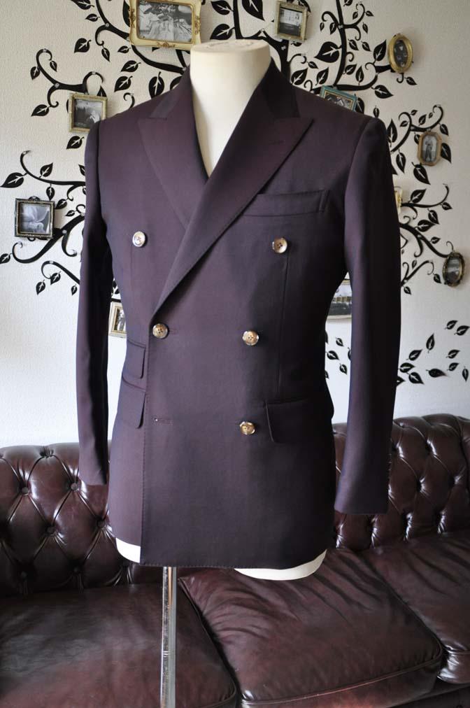 DSC0635-3 お客様のスーツの紹介-Biellesi無地ワインレッド ダブルスーツ-