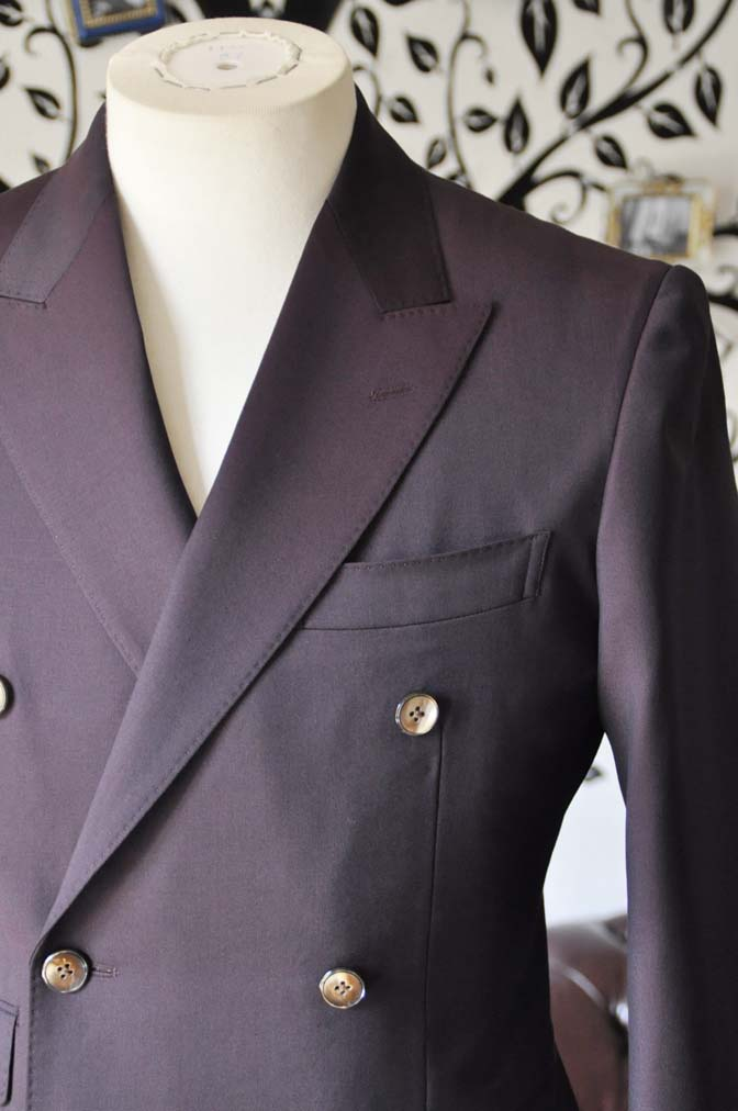 DSC0637-6 お客様のスーツの紹介-Biellesi無地ワインレッド ダブルスーツ-