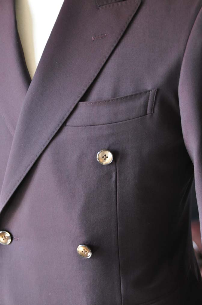 DSC0638-2 お客様のスーツの紹介-Biellesi無地ワインレッド ダブルスーツ-