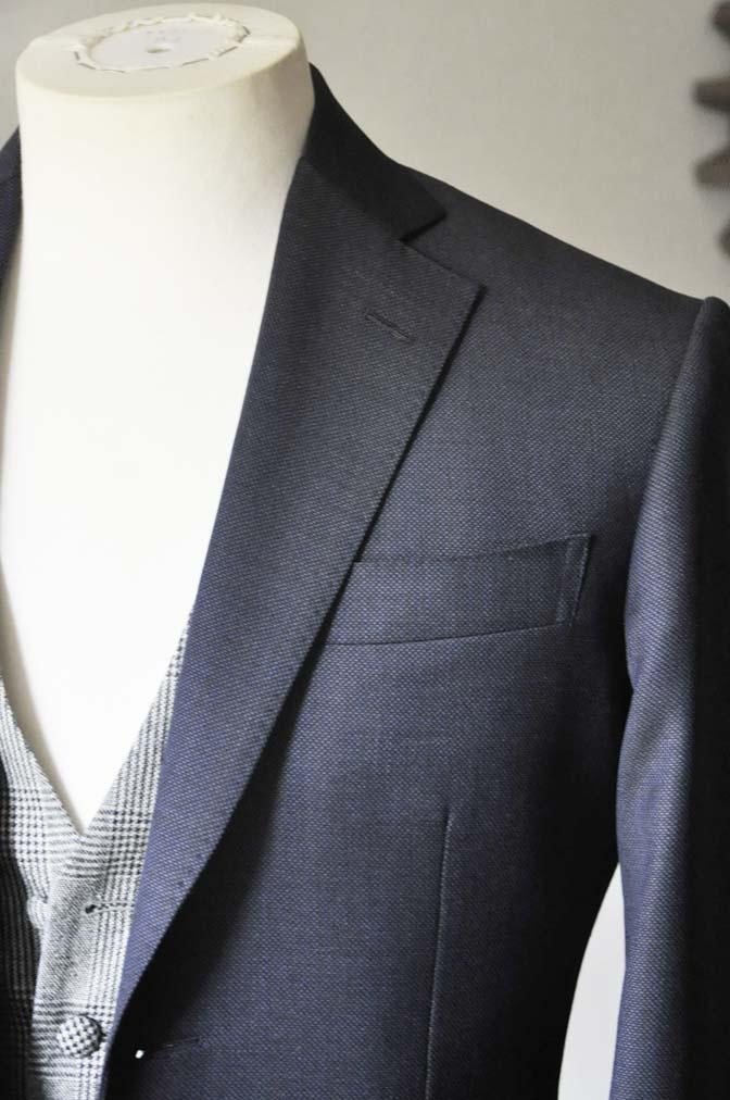 DSC0645-4 お客様のウエディング衣装の紹介-Biellesi ネイビーバーズアイスーツ グレーグレンチェックベスト- 名古屋の完全予約制オーダースーツ専門店DEFFERT