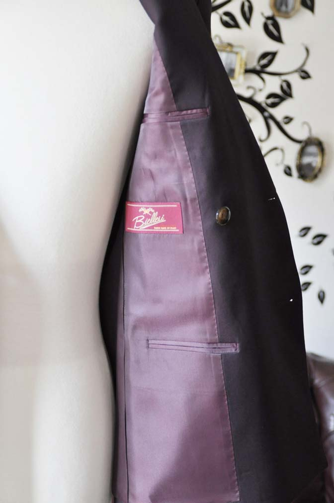 DSC0647-1 お客様のスーツの紹介-Biellesi無地ワインレッド ダブルスーツ-