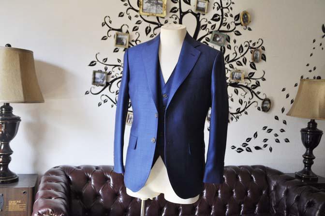DSC0650-1 お客様のスーツの紹介-Biellesiネイビーバーズアイ  スリーピーススーツ-