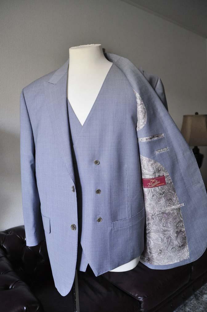 DSC0656-1 お客様のスーツの紹介- Biellesi ネイビ千鳥格子スリーピース-