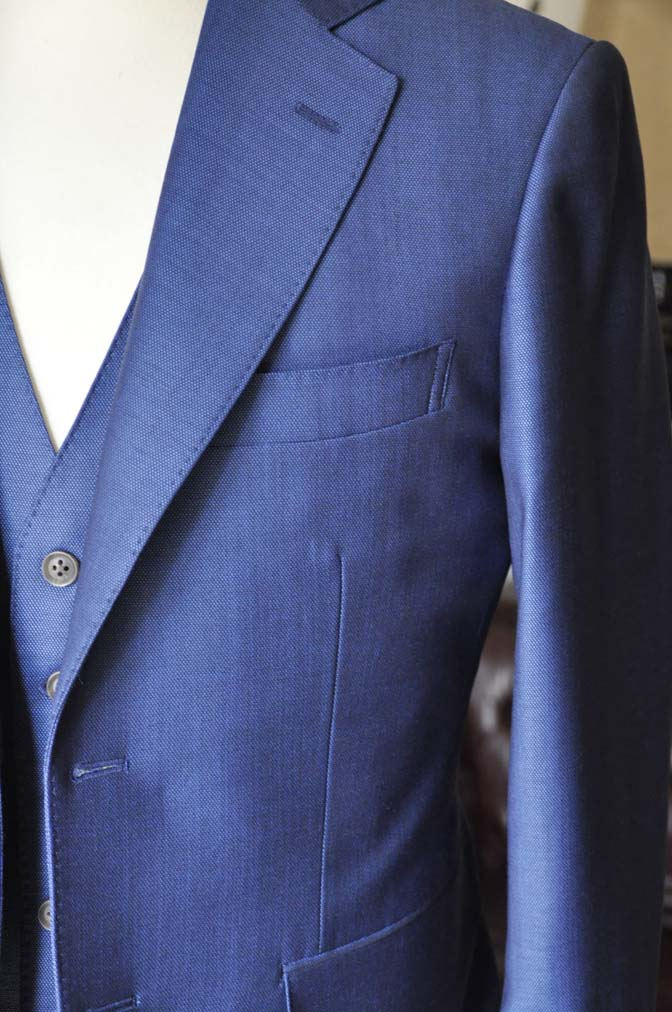 DSC0660-5 お客様のスーツの紹介-Biellesiネイビーバーズアイ  スリーピーススーツ-