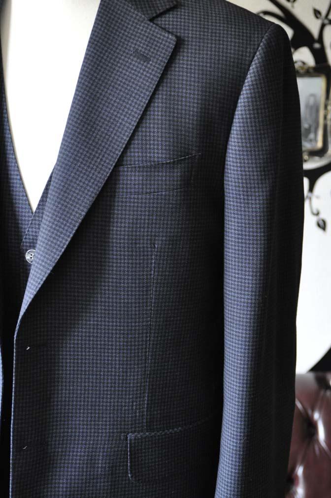 DSC0663-3 お客様のスーツの紹介-Biellesiネイビー千鳥格子スリーピース- 名古屋の完全予約制オーダースーツ専門店DEFFERT