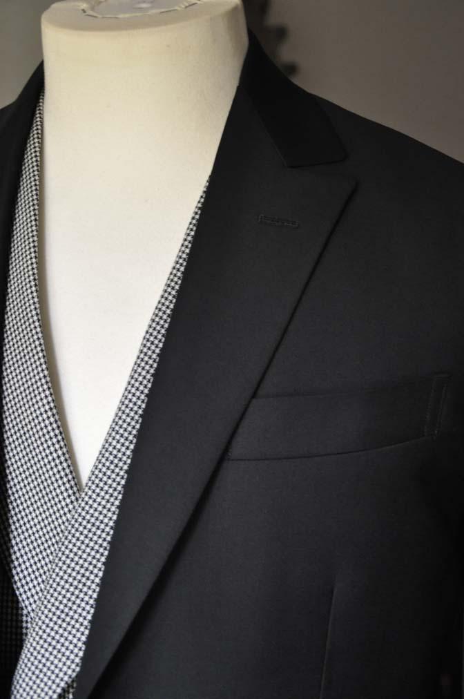 DSC0664-3 お客様のウエディング衣装の紹介-CANONICO ブラックスーツ 千鳥格子襟付きダブルベスト-