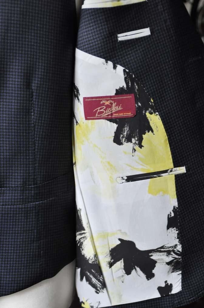 DSC0670-3 お客様のスーツの紹介-Biellesiネイビー千鳥格子スリーピース- 名古屋の完全予約制オーダースーツ専門店DEFFERT