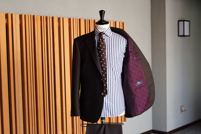 DSC06726 オーダースーツの紹介-MARLANEブラウン千鳥格子スーツ-