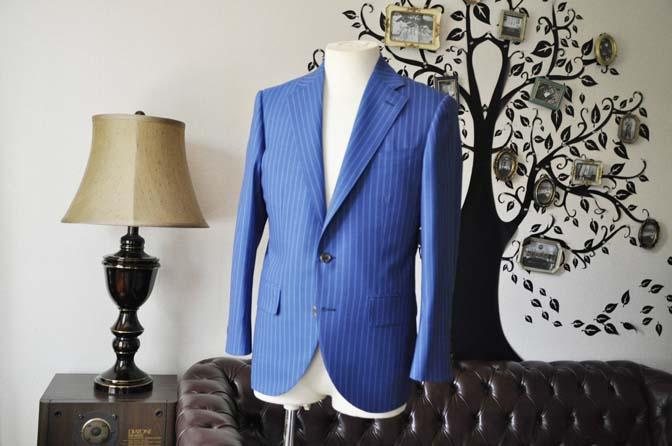 DSC0673-3 お客様のスーツの紹介-DORMEUIL ネイビーストライプ-