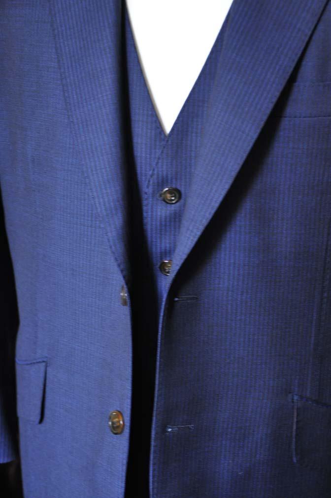 DSC0679 お客様のスーツの紹介- Biellesi ネイビーストライプスリーピース-