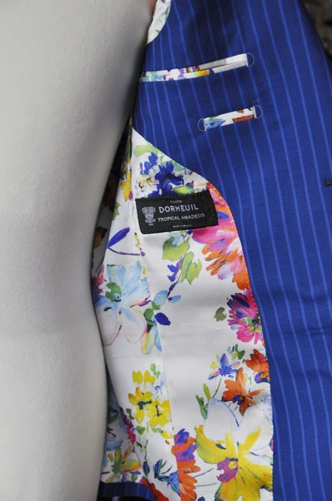 DSC0684-4 お客様のスーツの紹介-DORMEUIL ネイビーストライプ-