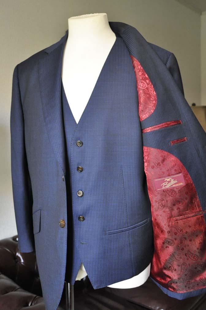 DSC0685-2 お客様のスーツの紹介- Biellesi ネイビーストライプスリーピース-