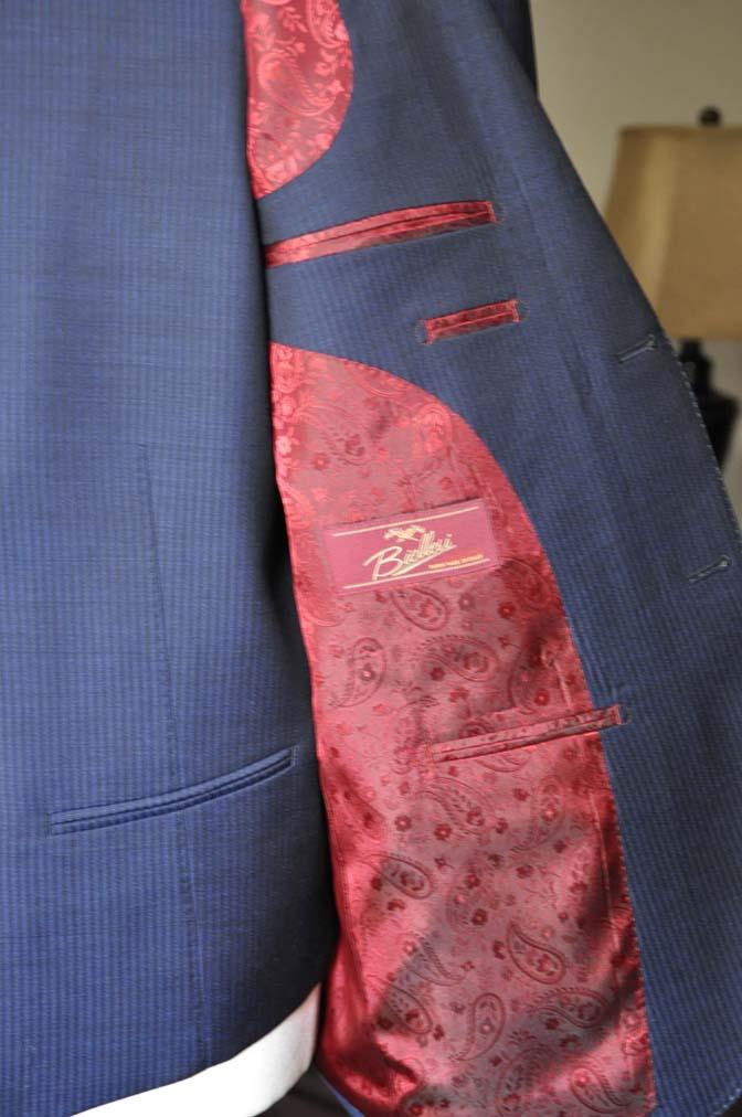 DSC0686-2 お客様のスーツの紹介- Biellesi ネイビーストライプスリーピース-