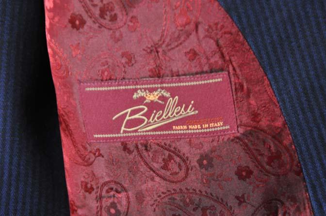 DSC0687-1 お客様のスーツの紹介- Biellesi ネイビーストライプスリーピース-