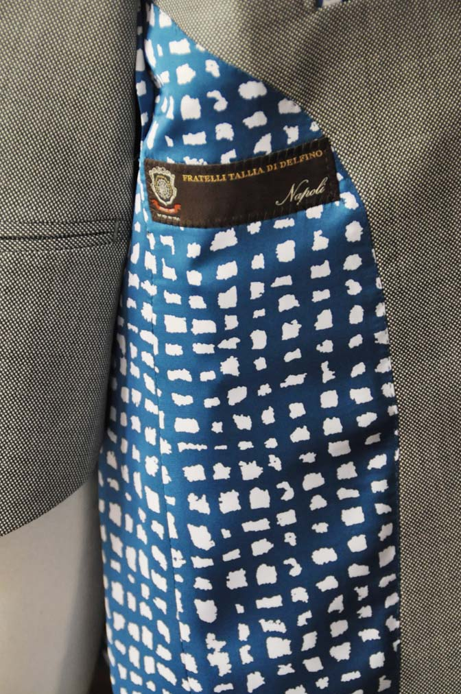 DSC0699-5 お客様のスーツの紹介-Tallia Di Delfino グレーバーズアイ ダブル襟付きジレスリーピース- 名古屋市西区那古野オーダースーツ専門店