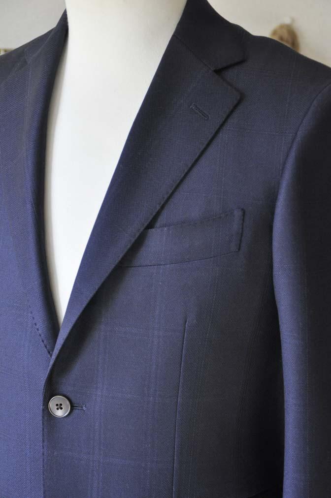 DSC0702-3 お客様のスーツの紹介-REDA ネイビーチェックスーツ-