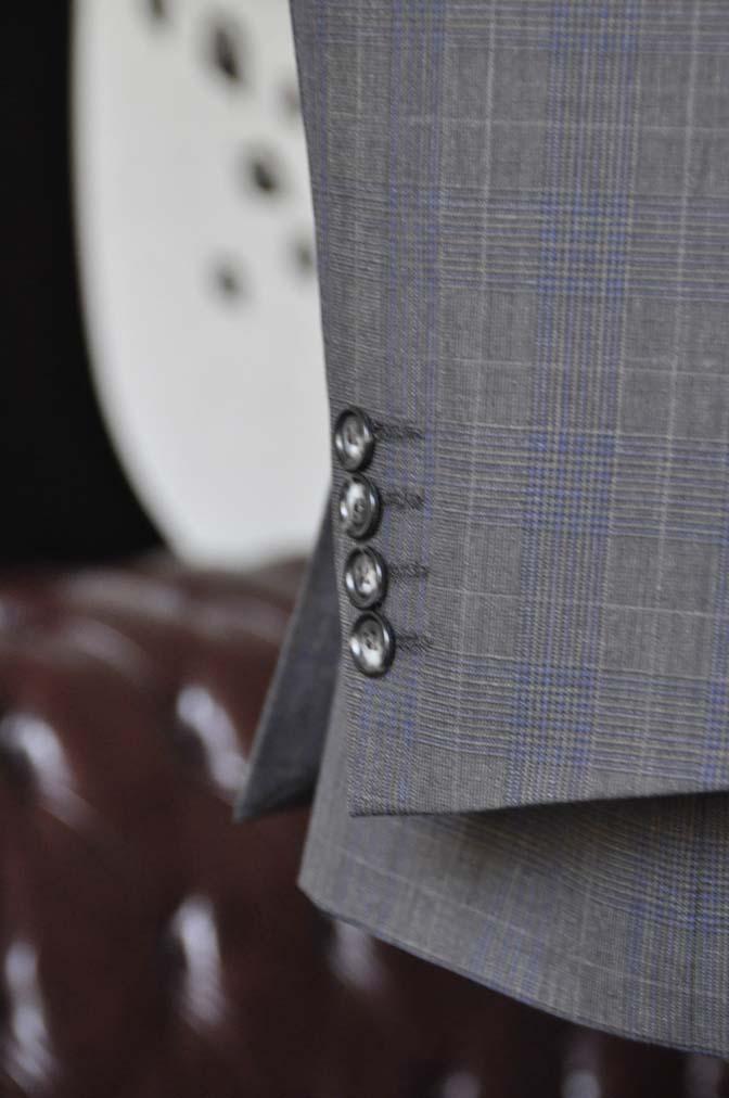 DSC0710-2 お客様のウエディング衣装の紹介- Biellesiブラウンチェックジャケット ネイビーベスト- 名古屋の完全予約制オーダースーツ専門店DEFFERT