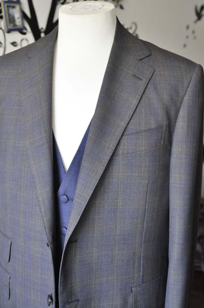 DSC0712-4 お客様のウエディング衣装の紹介- Biellesiブラウンチェックジャケット ネイビーベスト- 名古屋の完全予約制オーダースーツ専門店DEFFERT