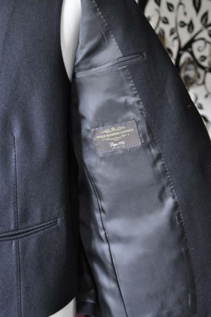 DSC0716-6 オーダースーツの紹介-CANONICO ブラックフランネル スリーピース- 名古屋の完全予約制オーダースーツ専門店DEFFERT