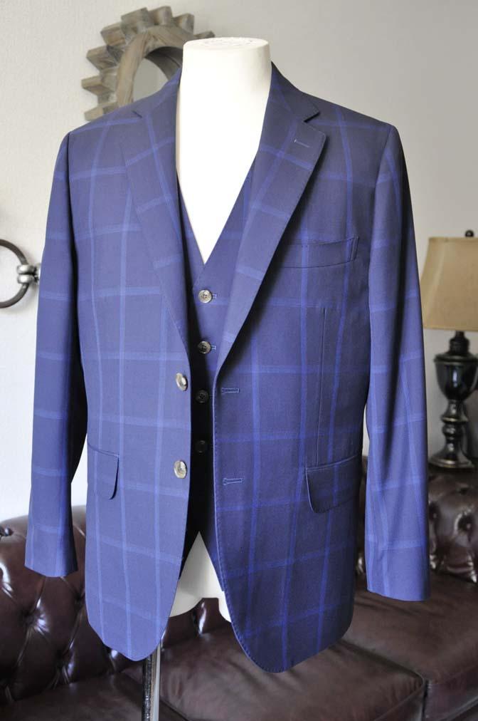 DSC0728-1 お客様のスーツの紹介- Biellesi ネイビーウィンドペン スリーピース-