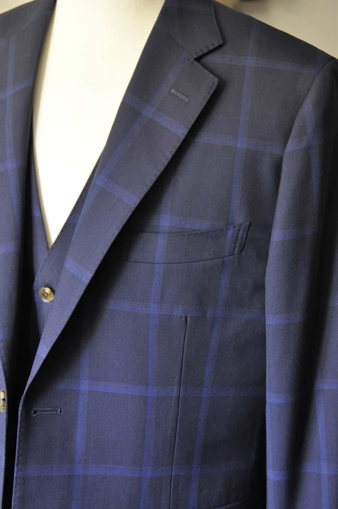 DSC0736 お客様のスーツの紹介- Biellesi ネイビーウィンドペン スリーピース-
