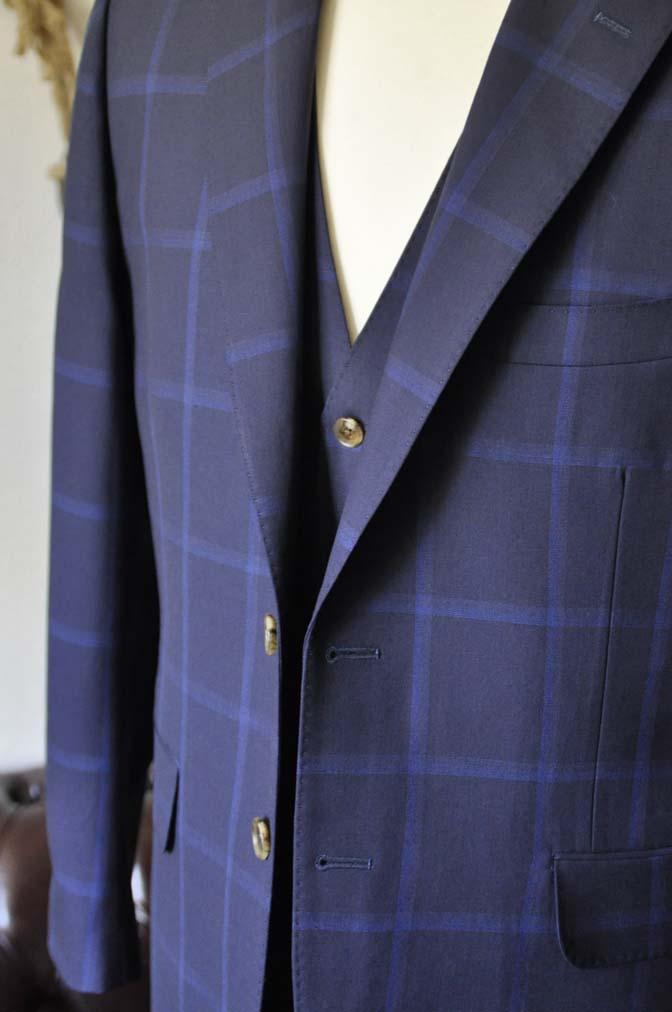 DSC0737-1 お客様のスーツの紹介- Biellesi ネイビーウィンドペン スリーピース-