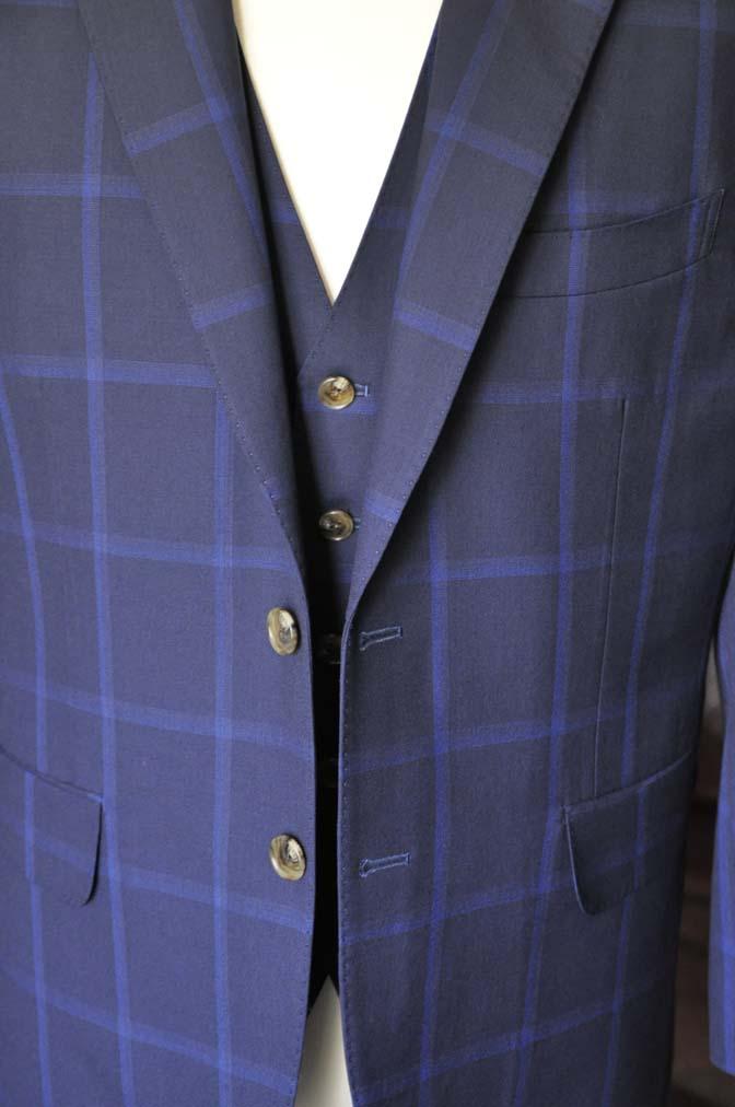 DSC0738-1 お客様のスーツの紹介- Biellesi ネイビーウィンドペン スリーピース-