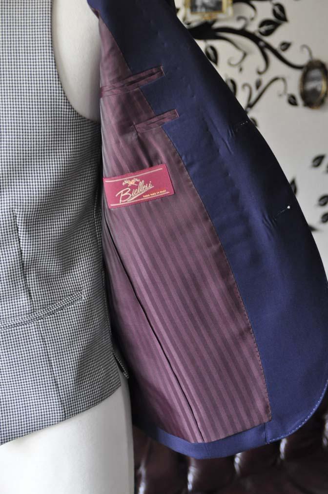 DSC0744-3 お客様のウエディング衣装の紹介- Biellesi無地ネイビースーツ 千鳥格子ベスト- 名古屋の完全予約制オーダースーツ専門店DEFFERT