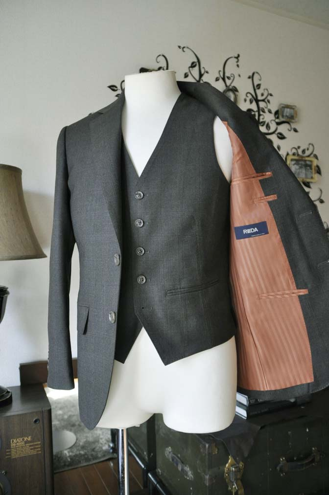 DSC0748-5 お客様のスーツの紹介-REDA グリーンチェックスリーピース-