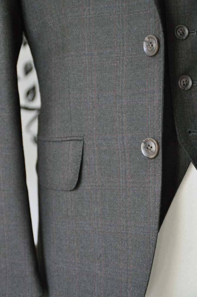 DSC0758-2 お客様のスーツの紹介-REDA グリーンチェックスリーピース-