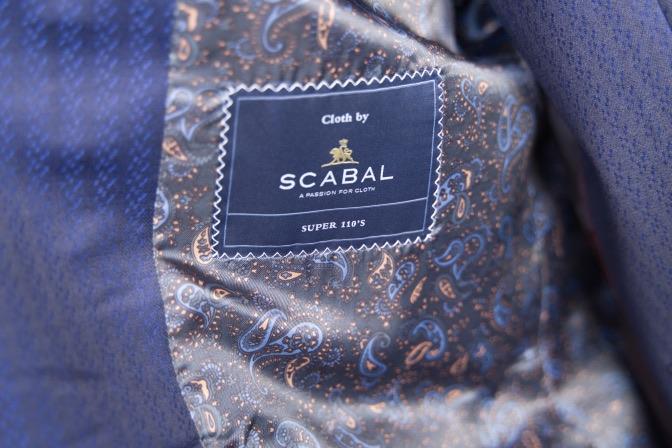 DSC07590 オーダースーツの紹介-SCABAL  GALAXYネイビーストライプスリーピーススーツ-