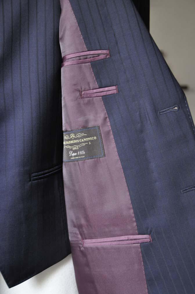 DSC0763-2 お客様のスーツの紹介- CANONICOネイビーストライプ スリーピース-