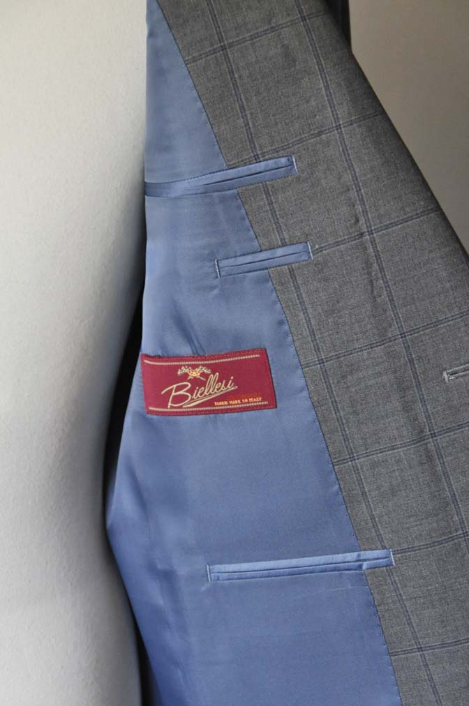 DSC0777-1 お客様のスーツの紹介- Biellesi グレーウィンドペン-