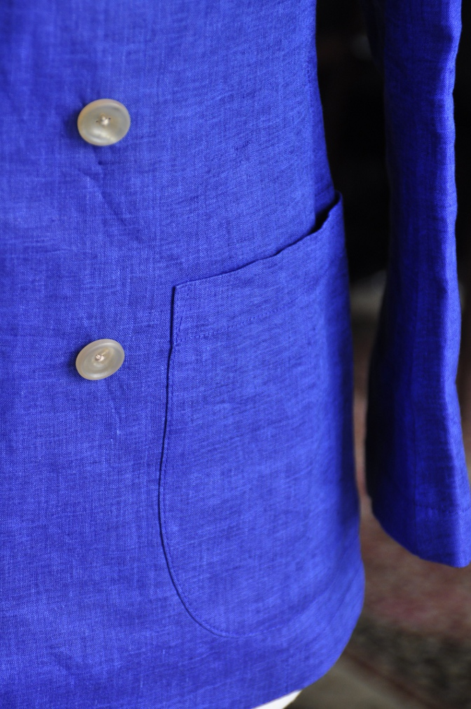 DSC0783 オーダージャケット -リネン ブルー ダブルジャケット-