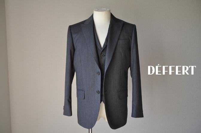 DSC07852 お客様のスーツの紹介-CANONICO グレーヘリンボーン スリーピース- 名古屋の完全予約制オーダースーツ専門店DEFFERT