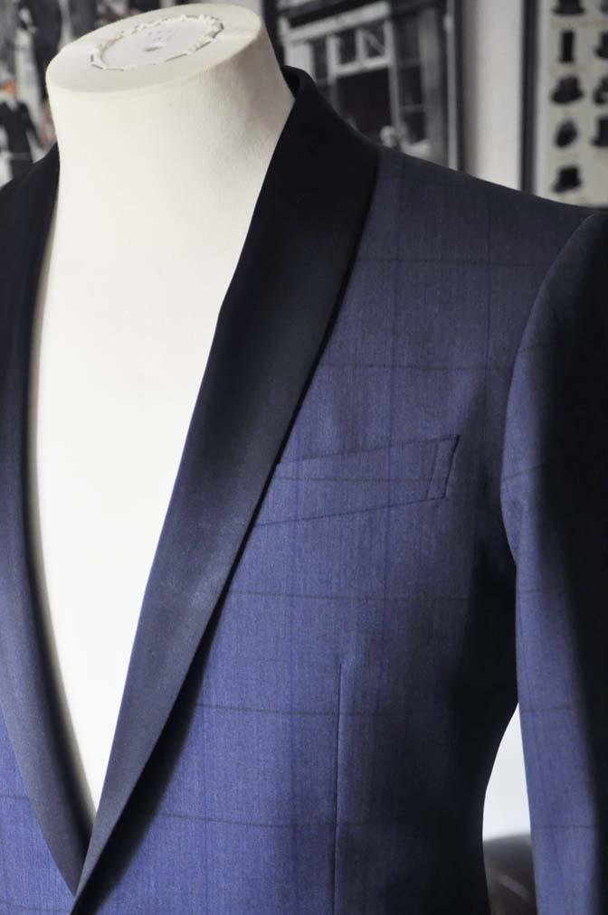 DSC07981 お客様のウエディング衣装の紹介-Biellesiネイビーウィンドペン ショールカラータキシード-