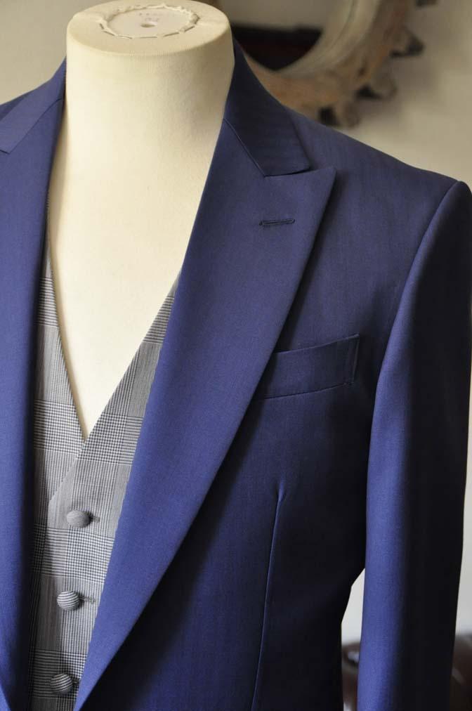 DSC0799-1 お客様のウエディング衣装の紹介- Biellesi ネイビーヘリンボーンスーツ グレーグレンチェックベスト- 名古屋の完全予約制オーダースーツ専門店DEFFERT