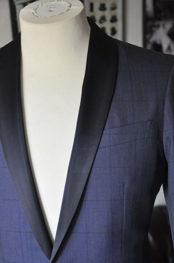 DSC07992 お客様のウエディング衣装の紹介-Biellesiネイビーウィンドペン ショールカラータキシード-