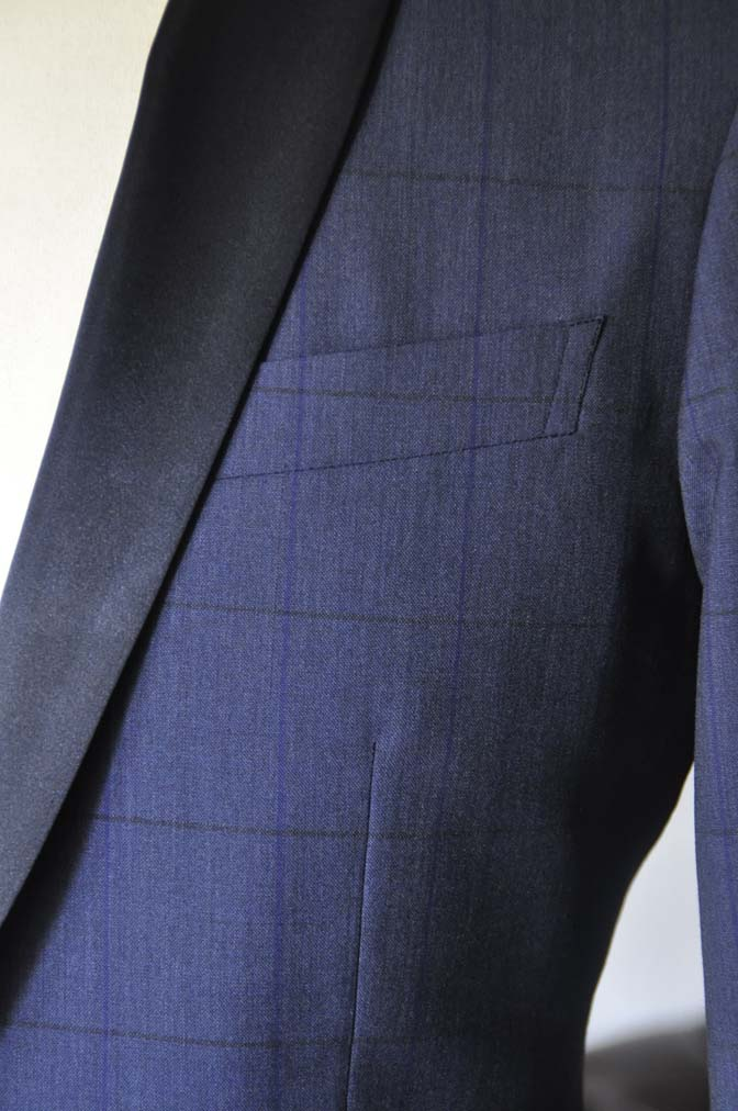 DSC08001 お客様のウエディング衣装の紹介-Biellesiネイビーウィンドペン ショールカラータキシード-